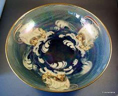 Rare Shelley Lustre Bowl Walter Slater Hand Painted Galleon Design Signed