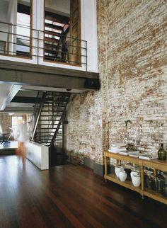 {Loft life} screw a house. I want a loft! Loft Interior, Estilo Interior, Interior Architecture, Interior And Exterior, Brick Interior, Modern Interior, Interior Balcony, Interior Windows, Sustainable Architecture