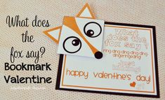 Valentine Idea: What Does the Fox Say? Bookmark Valentine - Funky Polkadot Giraffe