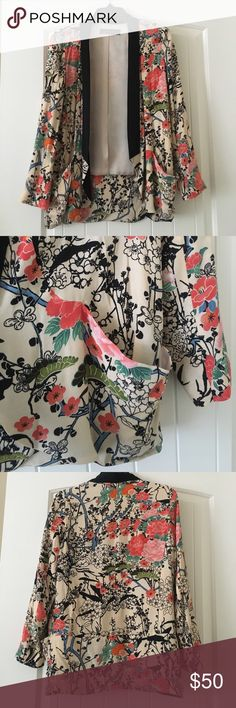 Gorgeous Zara open drape blazer This barely worn Zara blazer is so pretty with its floral print. Looks great dressed up or down. Long and flowy so great for all body shapes! Zara Jackets & Coats