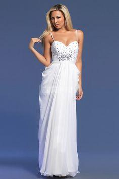 Sheath Spaghetti Straps White Crystals Evening Dress