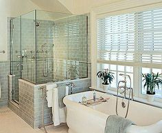 half wall around front Master Bath inspiration, soaking tub, blue/green subway tile. Bathroom Window Treatments, Bathroom Windows, Bathroom Renos, Bathroom Ideas, Bathroom Makeovers, Bathroom Tubs, Bath Ideas, Modern Bathroom, 1950s Bathroom