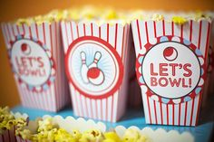 Bowling birthday party - printables from Chickabug 9th Birthday Parties, Birthday Ideas, 11th Birthday, Birthday Celebrations, Bowling Party Favors, Party Printables, Party Ideas, Popcorn, Birthdays