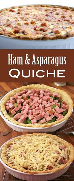 This Ham and Asparagus Quiche is terrific for a springtime brunch, Easter dinner, or even just a weeknight meal. Make it up to three days ahead and serve it room temperature or warmed up. Egg Quiche, Ham And Cheese Quiche, Asparagus Quiche, Gruyere Cheese, Easter Dinner Recipes, Brunch Recipes, Breakfast Recipes, Brunch Food, Breakfast Ideas