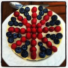 my 40th birthday party is going to be a British theme....this might be appearing on the menu. Vanilla Cheesecake with Raspberries and Blueberries #boden #fromlondonwithlove