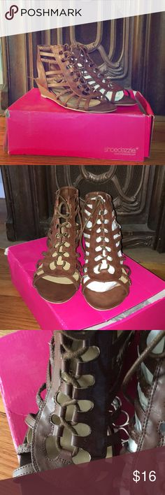 """Shoe Dazzle lace up sandal, new! Brand new Shoedazzle lace up sandals, size 9  Never worn, cute """"Missy"""" style  Comes in original box, box is a little crushed from storage, see pics Shoe Dazzle Shoes Sandals"""