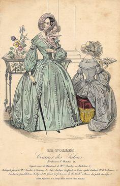 "Le Follet Fashion Plate - 1850 - """"WOMAN WITH UMBRELLA"""" - H-C Lithograph"