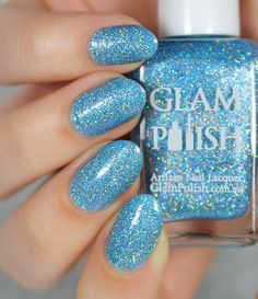 Glam Polish 'Below Zero' ~ bright blue jelly with ultra holo glitter and silver holo microglitter ~ 2 coats ~ Mid-Winters Dream Collection - swatch by Lacquerstyle