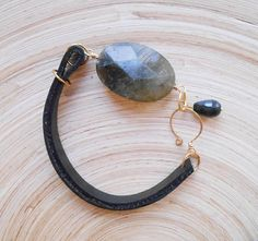 Mila gemstone beaded leather bracelet boho chic stacking friendship yoga wristband black grey labradorite jade leather goldfill gift for her