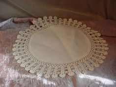 Vintage Crocheted Lace Linen Doily 11 inch Round Tabletop M3020 Cottage Sweet #crocheted