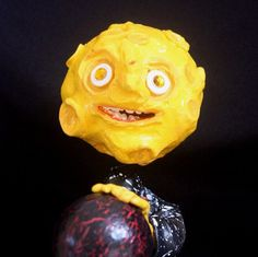 Paper Mache Moon Man Alien Skull Candy Container by MrBonysNurse on Etsy