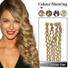 18inches 100S Micro rings/loop Indian Human Hair Extensions Curly #24_Ash Blonde