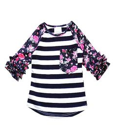 4babc04998c Honeydew Navy Stripe   Floral Contrast Ruffle-Sleeve Tee - Infant