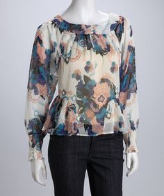 White floral gathered top