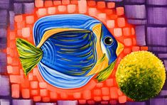 Full Moon Betta Fish,Colorful Fish Painting ,My heart is in the Ocean, Original Oil Painting for Sale by Miami Artist Laelanie Larach. Nautical Painting for Sale.,