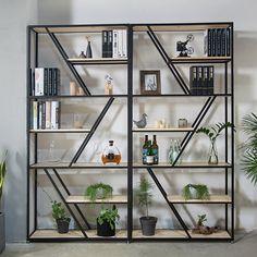 Modern 6-Tier Bookcase Freestanding Black&Natural Shelving Black Metal Shelf, Metal Shelves, Modern Shelving, Shelving Units, Sideboard Table, Standing Shelves, Home Office Decor, Home Decor, Shelf Design
