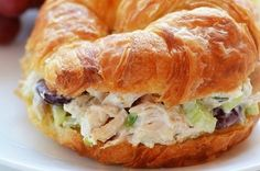 Chicken Salad Croissant Sandwiches are filled with flavorful chicken salad stuffed between buttery, soft croissant rolls. It is one delicious sandwich! Croissant Sandwich, Chicken Salad Croissant, Leftover Chicken Recipes, Chicken Recipes Video, Chicken Ideas, Rotisserie Chicken Salad, Creative Food, The Fresh, I Love Food