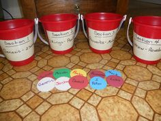 """Dividing the Bible Into Sections  Children put the foam circle """"books"""" into the correct section bucket.  Buckets are labeled Genesis-2 Samuel, 1 Kings to Psalm, Proverbs-Malachi, & Matthew-Revelation.  Practice finding books from each section to familiarize children with the general location of each book."""