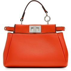 Fendi Peek-A-Boo Micro Leather Tote ($1,245) ❤ liked on Polyvore featuring bags, handbags, tote bags, red, genuine leather tote, mini tote bag, red tote bag, leather handbags and leather shopper tote bag