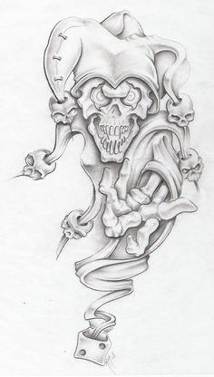 Clown Tattoo Drawing Designs | evil jester II by markfellows