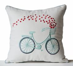 Decorative Throw Pillow Cover Heart Bicycle by AmoreBeaute on Etsy