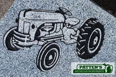 Blasted Tractor design old style. Patten's Michigan Monuments