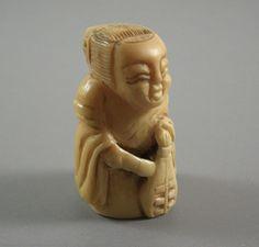 Faux Ivory Bone Netsuke Woman Figurine by UBlinkItsGone on Etsy
