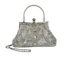 #Exquisite Seed Bead Sequined Leaf Evening Handbag, Clasp Purse Clutch w/Hidden Handle #Women Handbags