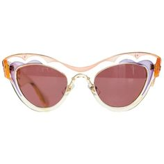 f0015a89b92e Pre-owned Miu Miu Translucent Pink And Yellow Acetate Cat Eye... (