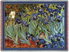 Van Gogh's Irises Throw. 100% Cotton Throw Blankets - Famous Artists. Van Gogh's Irises is a wonderful composition of color and excitement. This is the famous iris that Van Gogh painted over and over until he was able to gain perfection. It can brighten any room and makes a nice gift to wrap around someone you care about.