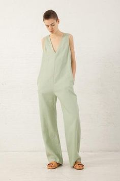 Nomia V Neck Jumpsuit in Pistachio | Oroboro Store | New York, NY