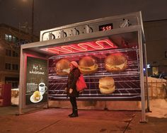 Warm Oven Bus Stop - This creative bus stop will make anyone passing-through hungry for a nice, warm meal. Colle+McVoy made these ovens out of transit shelters, complete with real heaters and working clocks, to showcase Caribou Coffee's new, hot menu items. The campaign also benefits Minnesotans during their frigid winter commutes. Toasty!