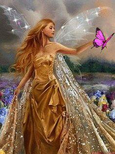 a pretty fairy and I like her dress... ; )