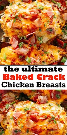 Baked Crack Chicken Breasts, also referred to as Ranch Chicken with Bacon, is a delicious and creamy dish loaded with cheese and bacon. Hard to believe that Crack Chicken is also Low Carb and Keto-Friendly! Crack Chicken, Cream Of Chicken Soup, Chicken Rice, Chicken Bacon Ranch, Baked Chicken Breast, Baked Chicken Recipes, Meals With Chicken Breast, Recipe Using Chicken Breasts, Cream Cheeses