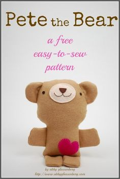 DIY Cute Felt Teddy Bear - FREE Sewing Pattern and Tutorial