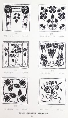 """Gibson Cushion Stencils offered in """"A Practical Guide to Stencilling"""" by Frank Gibson (1913)."""
