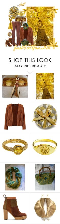 #autumn in yellow by justforyouhm on Polyvore featuring moda, Sandro, See by Chloé and Hostess round coasters E Inder Designs