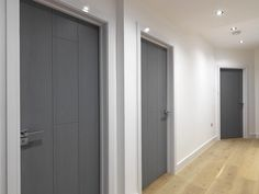 Gorgeous grey #interiordoors. Stunning painted finish that has a timber graining effect. JB Kind's Nuance Ardosia