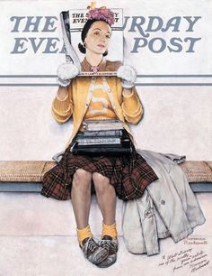 Vintage et cancrelats: Norman Rockwell : Girl reading The Post, 1941