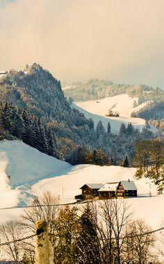 Winter in Appenzell, Switzerland.