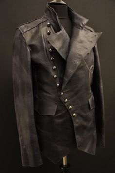 Impero London Signature Luxury Mens Military Fitted Leather Jacket