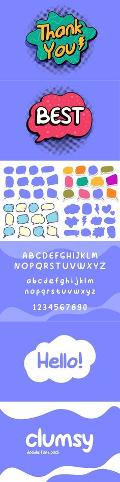 Introduce : A new doodle font named Clumsy, a hand-drawn style font. This fonts feature : - Uppercase - Lowercase - Number - Punctuation Zip includes : - Clumsy Doodle Fonts, Font Packs, Text Fonts, Uppercase And Lowercase, Punctuation, How To Draw Hands, Bubbles, Doodles, Names