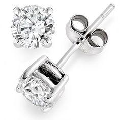 3/4 Carat Solitaire Diamond Earrings 14K White Gold Push Back (0.72 Carat J Color I1 Clarity) $430.00