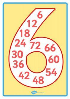 LA TABLA DEL 6                                                                                                                                                                                 Más Math For Kids, Fun Math, Maths, White Chocolate Fudge, Math Charts, Math Journals, Teaching Math, Fun Learning, Mathematics