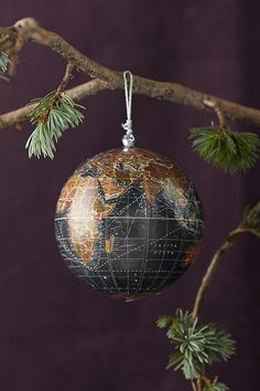 World Globe Ornament by Anthropologie in Black, Holiday Holiday Ornaments, Holiday Gifts, Christmas Bulbs, Christmas Decorations, Holiday Decor, Holiday Ideas, Picture Mix, Globe Ornament, World Globes