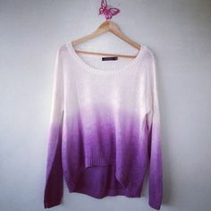 Sweater: clothes, ombre, knitwear, pink sweater, pretty, tie dye ...