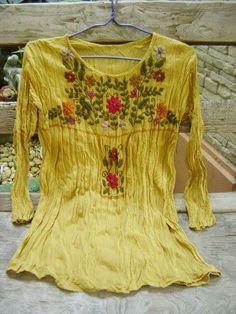 Long Sleeves Bohemian Embroidered Top - Mustard from fantasyclothes on Etsy. Saved to Epic Wishlist. Boho Beautiful, Hippie Outfits, Cotton Lights, Ruffle Skirt, Embroidered Flowers, Bohemian, Tunic Tops, Alter Ego, Boho Style