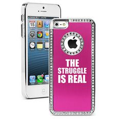 For iPhone 5 5s 5c 6 6s Plus Rhinestone Crystal Bling Case The Struggle Is Real   eBay