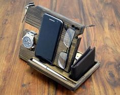 Christmas Gift For Men, Desk Organizer, Wood organizer, Docking station, Phone holder, Anniversary Gift, Wooden phone stand, man gift