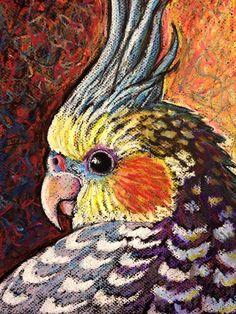 9x12 Original Cockatiel Painting - Oil Pastel- Cockatiel Portrait - Not a Print…